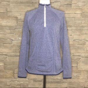 Athleta blue half-zip running top